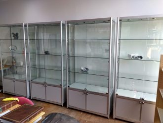 Our new display cabinets ready for filling with artefacts.