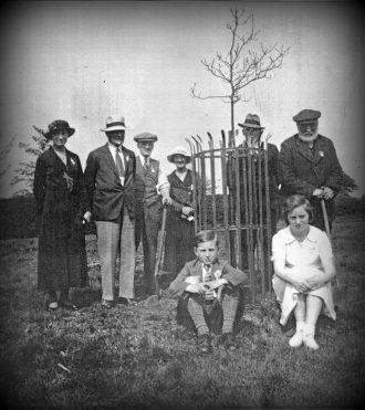 Commemorating George V's Silver Jubilee by planting an  oak tree on the Top Green.