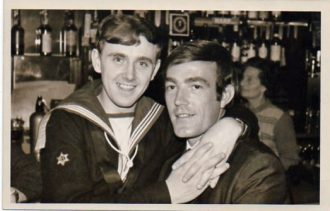 A Sailor sat on Man's lap (1950s) | Plymouth LGBT Archive