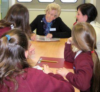 Heather Overall being interviewed in HOFS by children from Hadleigh Junior School   Team Hadleigh 2012