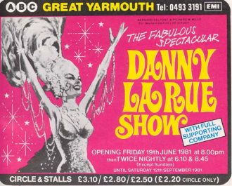 Advert for the Danny La Rue show at the ABC, 1981