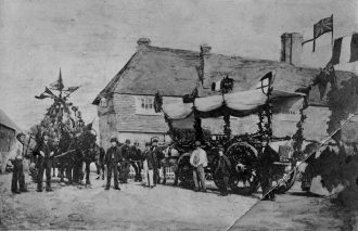 Waggons decorated for the Harvest Home parade on September 14th 1864. The Order of Proceedings required men to have a bouquet of three ears of wheat on their left breast. The procession was headed by the oldest labourers and the