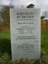 Memorial stone at Fambridge, site of Britain's first airfield