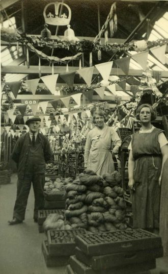 Balnamore Mill Reeling Room, on the day of the 1936 Jubilee, showing Johnny, Maggie and Lily Doherty