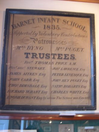 Noticeboard from the Barnet Infant School