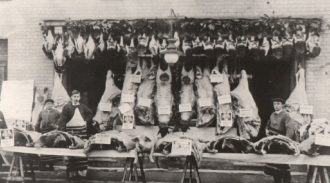 Christmas show of meat outside Leonard's Butcher's Shop, Soham, C1900.