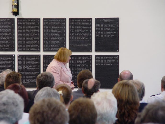 Edwina Hart AM, MBE, Minister for Social Justice and Regeneration, guest of honour addressing the audience.