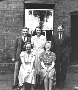 Don Wright, standing left, and Harborne Library staff, 1939