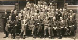 George Ford - front row 2nd from right at Fort Dunlop 17 July 1952
