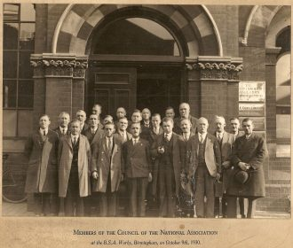H.S.Bodey is 4th from the right with the briefcase. B.S.A. Works Birmingham 9 October 1930