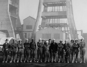 Miners at Hucknall Colliery Number 2, also known as Bottom Pit, 1975