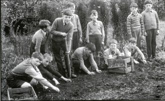 Pupils in the garden at Largy Primary School, 1962