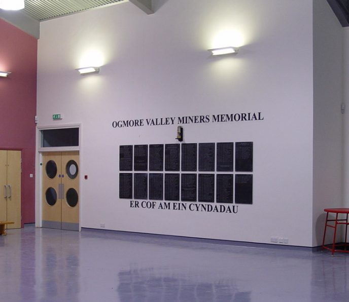 The finished Memorial in the Main Hall of Ogmore Vale Primary School.