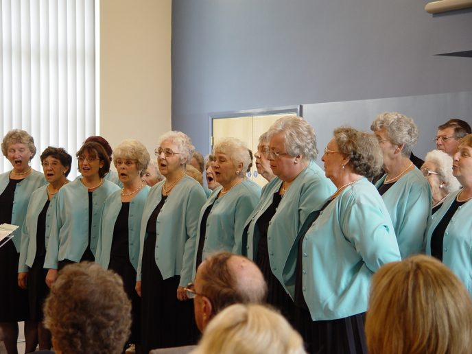 The Ogmore Valley Ladies Choir who opened proceedings with a sparkling performance singing a melody of songs including the