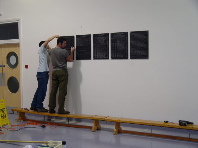 Lasers R Us Staff start erecting the Memorial Plaques
