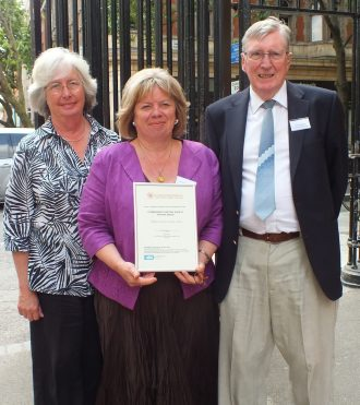 Lea Oakley, Malcolm Shepherd and Christine Waterman of St Margaret's History Society Archive Group Winner of the 'Best New' Community Archive and Heritage Group