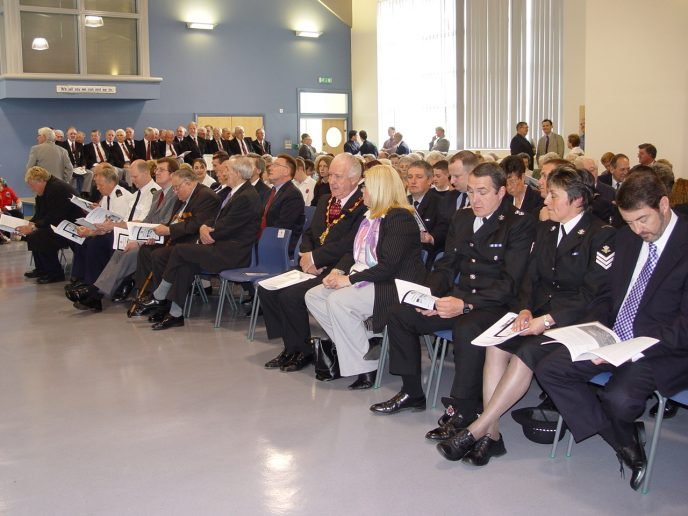 Uniformed members of the emergency services were among the invited guests of honour.