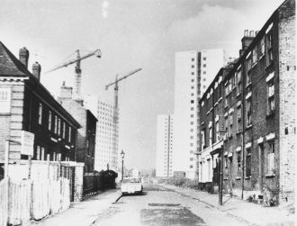 A mid-1960s pic of the Lenton high-rise fats under construction. The only building in the area not to be demolished is on the left of the pic and is now known as The Lenton Centre.