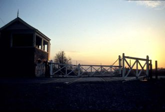 The abandoned level crossing at Milcote 1981