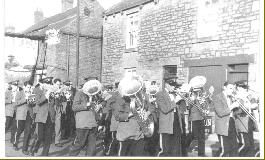 Greenside Banner being paraded through the village, circa 1960's