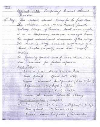 Page one of The School Log Book 1929