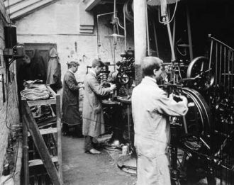 Workers at Mann's Shoe Factory