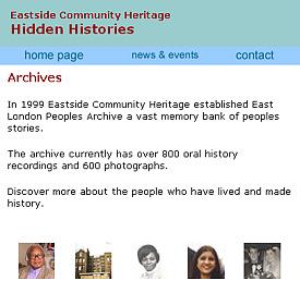 Screenshot from the Hidden Histories website