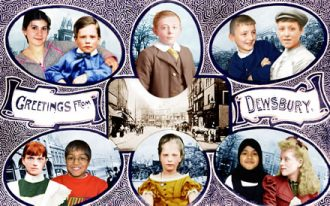 Victorian postcard from Dewsbury altered to include people from now as well as then