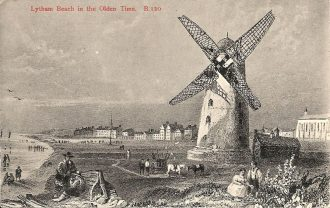 Lytham beach and windmill early 1800s