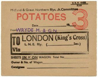 Potato traffic wagon label