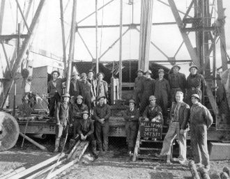The deepest well to be drilled at Dukes Wood was No. 146 to a depth of 7,473 feet. Pictured are members of the drilling team involved in this achievement.