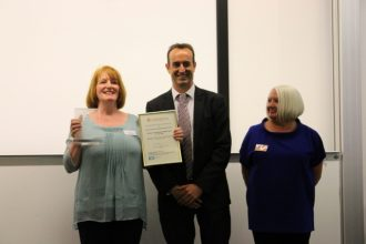 Dr Nick Barratt presenting the 2014 CAHG Awards to Isle of Jura Development Trust winners of Inspiration category and overall winners | Judith Harvey