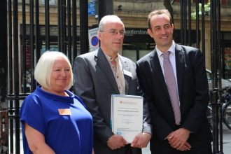 Matt Champion Norfolk Medieval Graffiti Survey winners of the Innovation category with Dr Nick Barratt and Sue Hampson Chair CAHG committee | Judith Harvey