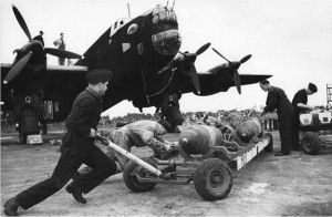 Loading bombs on Pocklington Airfield in 1943