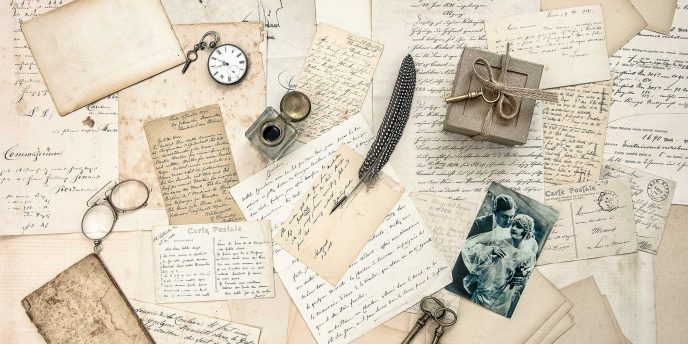 Collage of archival documents and photos