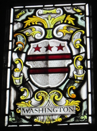 Stained glass window. Image from heraldry of Washington family pre 1700 | Tony West